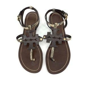 Tory Burch 8 Phoebe Chandler Snakeskin Sandals
